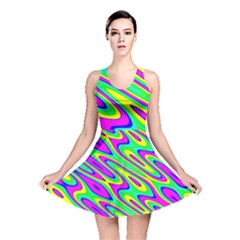 Lilac Yellow Wave Abstract Pattern Reversible Skater Dress