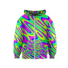 Lilac Yellow Wave Abstract Pattern Kids  Zipper Hoodie