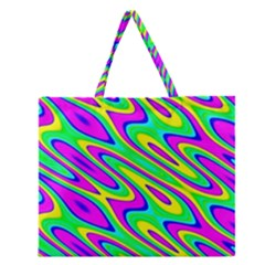 Lilac Yellow Wave Abstract Pattern Zipper Large Tote Bag
