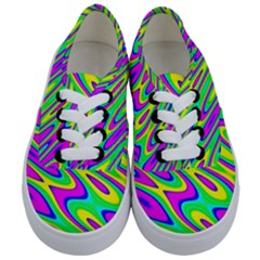 Lilac Yellow Wave Abstract Pattern Kids  Classic Low Top Sneakers