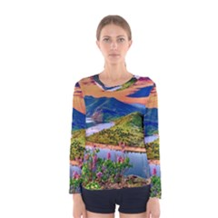 Landscape River Nature Water Sky Women s Long Sleeve Tee