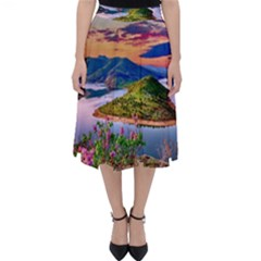 Landscape River Nature Water Sky Folding Skater Skirt