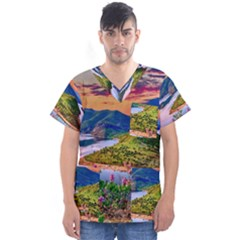 Landscape River Nature Water Sky Men s V Neck Scrub Top