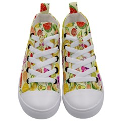 Cute Fruits Pattern Kid s Mid Top Canvas Sneakers