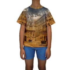 Palace Monument Architecture Kids  Short Sleeve Swimwear