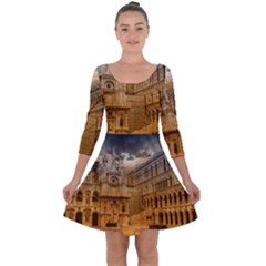 Palace Monument Architecture Quarter Sleeve Skater Dress