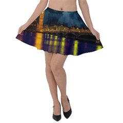 London Skyline England Landmark Velvet Skater Skirt