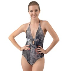 World War Armageddon Destruction Halter Cut Out One Piece Swimsuit