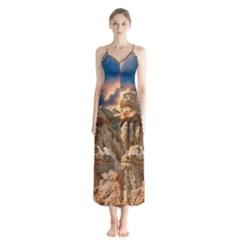 Canyon Dramatic Landscape Sky Button Up Chiffon Maxi Dress