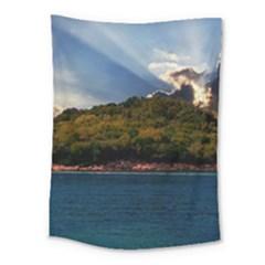 Island God Rays Sky Nature Sea Medium Tapestry