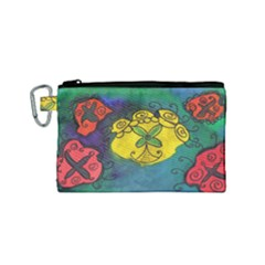 Cross Flowers Canvas Cosmetic Bag (small)