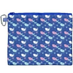 Snow Sleigh Deer Blue Canvas Cosmetic Bag (xxxl)