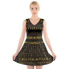 Hot As Candles And Fireworks In The Night Sky V Neck Sleeveless Skater Dress