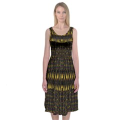 Hot As Candles And Fireworks In The Night Sky Midi Sleeveless Dress