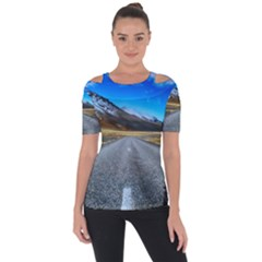 Road Mountain Landscape Travel Short Sleeve Top
