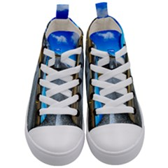 Road Mountain Landscape Travel Kid s Mid Top Canvas Sneakers
