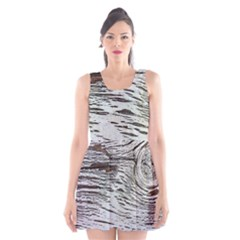 Wood Knot Fabric Texture Pattern Rough Scoop Neck Skater Dress