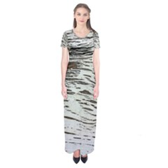 Wood Knot Fabric Texture Pattern Rough Short Sleeve Maxi Dress