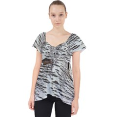 Wood Knot Fabric Texture Pattern Rough Lace Front Dolly Top