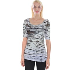 Wood Knot Fabric Texture Pattern Rough Wide Neckline Tee
