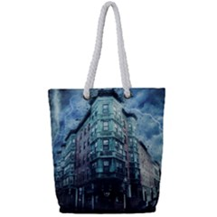 Storm Weather Thunderstorm Nature Full Print Rope Handle Tote (small)
