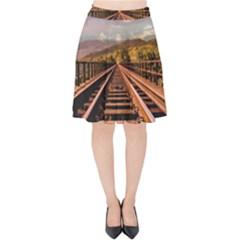 Railway Track Travel Railroad Velvet High Waist Skirt