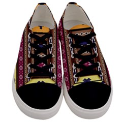 Colorful Tribal Art   Boho Pattern Men s Low Top Canvas Sneakers