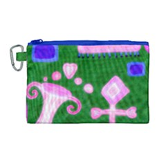 Hearts For The Pink Cross Canvas Cosmetic Bag (large)