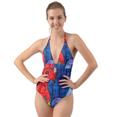 Hair Dryer Jelly Fish Halter Cut Out One Piece Swimsuit