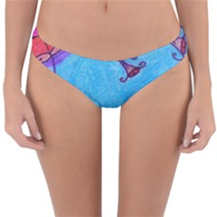 Hearts And Blue Reversible Hipster Bikini Bottoms