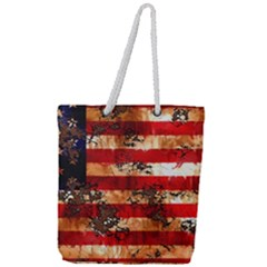 American Flag Usa Symbol National Full Print Rope Handle Tote (large)