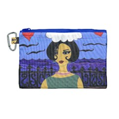 Girl By The Sea Canvas Cosmetic Bag (large)