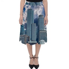 Tower Blocks Skyscraper City Modern Folding Skater Skirt