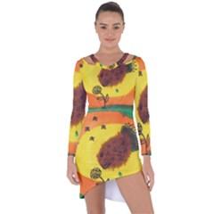 Pirana Eating Flower Asymmetric Cut Out Shift Dress