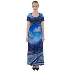 Nature Landscape Mountains Slope High Waist Short Sleeve Maxi Dress