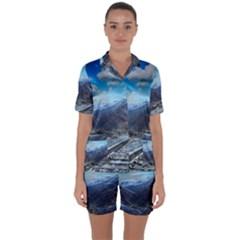 Nature Landscape Mountains Slope Satin Short Sleeve Pyjamas Set