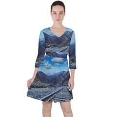 Nature Landscape Mountains Slope Ruffle Dress