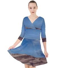 Sand Dune Desert Landscape Dry Quarter Sleeve Front Wrap Dress