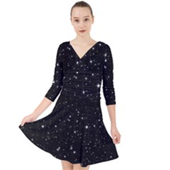 Black Background Texture Stars Quarter Sleeve Front Wrap Dress