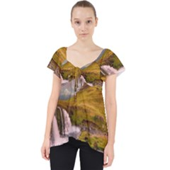 Nature Mountains Cliff Waterfall Lace Front Dolly Top