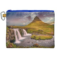 Nature Mountains Cliff Waterfall Canvas Cosmetic Bag (xxl)