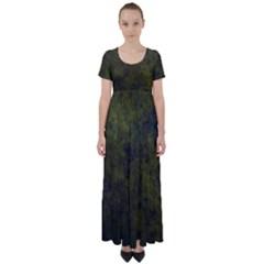 Green Background Texture Grunge High Waist Short Sleeve Maxi Dress