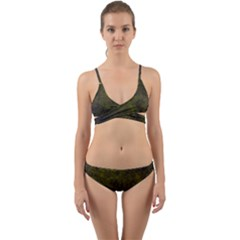 Green Background Texture Grunge Wrap Around Bikini Set