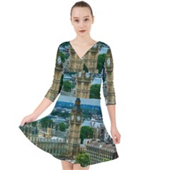 London England City Landmark Quarter Sleeve Front Wrap Dress