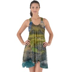 Coastline Waterfall Landscape Show Some Back Chiffon Dress