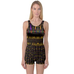 Hot As Candles And Fireworks In Warm Flames One Piece Boyleg Swimsuit