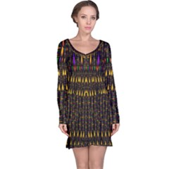 Hot As Candles And Fireworks In Warm Flames Long Sleeve Nightdress