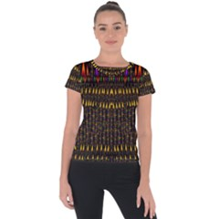 Hot As Candles And Fireworks In Warm Flames Short Sleeve Sports Top