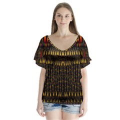 Hot As Candles And Fireworks In Warm Flames V Neck Flutter Sleeve Top