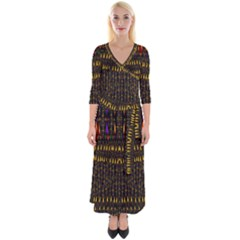 Hot As Candles And Fireworks In Warm Flames Quarter Sleeve Wrap Maxi Dress